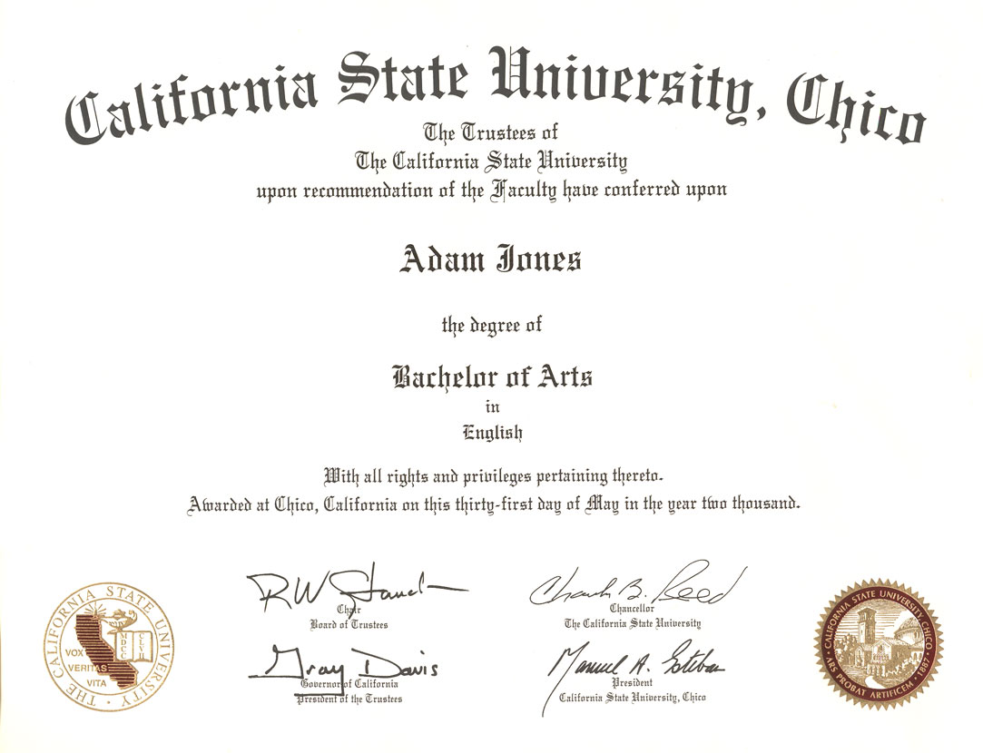 Degrees Certification Adam Ben Jones